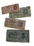 Old money of the German occupation territory in World War II. Old money that was used on the territory of Ukraine and Belarus during the German occupation in Stock Photos