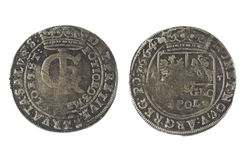 Old money. metal coins. Old money of the Grand Duchy of Lithuania. tymf. coins. metal Royalty Free Stock Photography