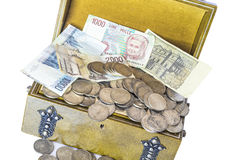 Old money. An old trunk with a small treasure of old silver coins and italian paper money out of course Stock Photography