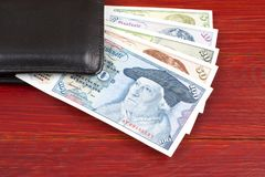Old money from West Germany in the black wallet Royalty Free Stock Photos