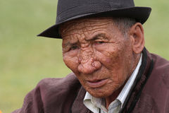Old mongolian man in traditional clothes Stock Photo