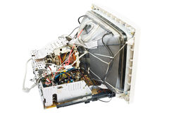 Old monitor inside. Electronics of an old monitor with a cathode ray tube Stock Photos