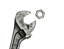 Old monkey wrench and bolt nut Royalty Free Stock Photos