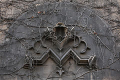 Old monogram M overgrown with climbing plants in Berlin, Germany Royalty Free Stock Image