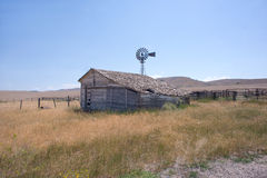 Old Montana Ranch. Abandoned house and corral on an old ranch in Montana Royalty Free Stock Image