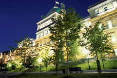 Old montreal. Montreal city hall night view Stock Photo