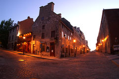 Old Montreal. Sunrise on StPaul street in Old Montreal ,Quebec,Canada Royalty Free Stock Photos