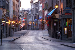 Old Montreal. St Paul street in Old Montreal,Quebec in the early morning Stock Photos