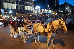 Old Montreal. Horse & buggy ride in Old Montreal Stock Photo