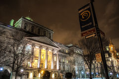 Old Montreal night scene royalty free stock images