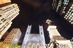 Old Montreal at night. Old Montreal street view with historical buildings stock images
