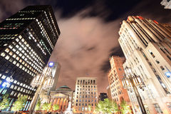 Old Montreal at night. Old Montreal street view with historical buildings royalty free stock photography
