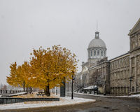 Old Montreal with snow and Bonsecours Market - Montreal, Quebec, Canada royalty free stock photo