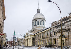 Old Montreal with snow and Bonsecours Market - Montreal, Quebec, Canada stock photography