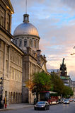 Old Montreal. Street view with historical buildings royalty free stock photos