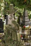 Old monument boy at a cross on a grave. Lichakovsky cemetery, Lviv. Royalty Free Stock Photos