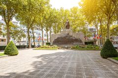 Monument in Vichy, France. Old monument in honor of people who died in the First and Second World War in Vichy city, France stock photo