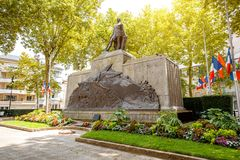 Monument in Vichy, France. Old monument in honor of people who died in the First and Second World War in Vichy city, France royalty free stock photos