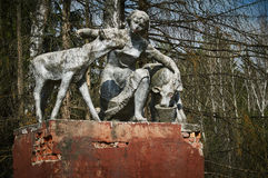 The old monument of the Soviet era the woman-the milkmaid in the Kaluga region (Russia). Royalty Free Stock Images