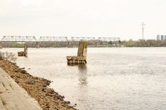 Old mooring space for ships on the river stock photos