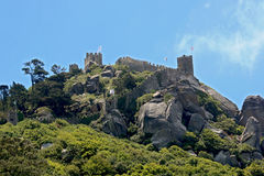 Old Moorish castle. At the top of mountain Royalty Free Stock Photo