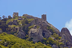 Old Moorish castle, Sintra, Portugal. Old Moorish castle at the top of mountain Royalty Free Stock Image