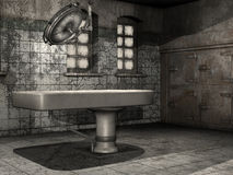 Old morgue table. Old table in a dusty morgue Royalty Free Stock Photo