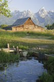 Old Mormon Barn against the tetons Royalty Free Stock Photo