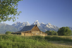 Old Mormon Barn against the tetons Royalty Free Stock Image