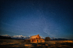 Old Mormon Barn, Grand Tetons. Night in  the Grand Teton National park  Old Mormon Barn Stock Images