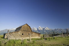 Old Mormon barn in Wyoming near the tetons royalty free stock photo