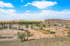 Old Moroccan villages in on a threshold of the great Sahara Desert. Rare palm oases stock photography