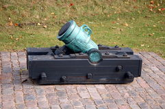Old mortar. Old cannon in citadele Castellet, Denmark Stock Photo
