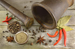 Old mortar and pestle background Royalty Free Stock Images