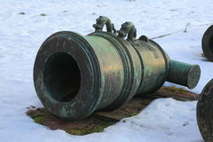 Old mortar on snow stock images