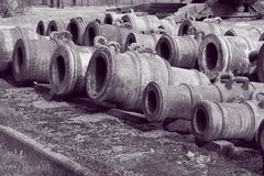 Old mortars in black and white royalty free stock photography