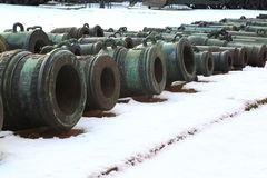 Old mortars on snow royalty free stock photos