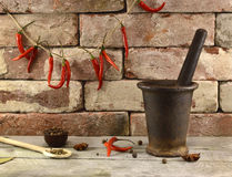 Old mortart and pestle on brick wall with peppers Royalty Free Stock Images