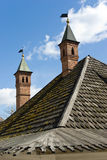 Old Moscow roof. The roof of Cell building of Znamensky Monastery in Moscow, Russia Stock Image