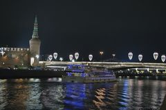 Old Moscow, the view of the Moscow Kremlin. Moscow at night Stock Photo