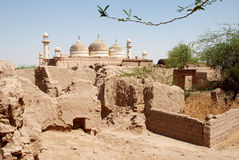 Old Mosque. An ancient mosque near a site of old fallen buildings in Bahawalpur, Pakistan Royalty Free Stock Images