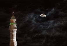 Old Mosque (al Bahr) minaret at night, Jaffa, Israel Stock Photos