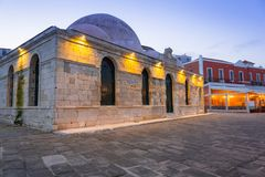 Old mosque in Chania port at dawn on Crete. Greece Stock Photo