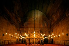 Old mosque egypt cairo. Historical Sultan Hassan Mosque at night in cairo in egypt stock photography