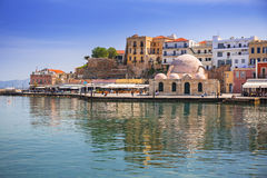 Old mosque in the port of Chania on Crete Stock Photo