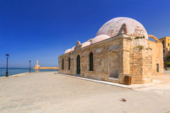 Old mosque in the port of Chania on Crete Stock Photos
