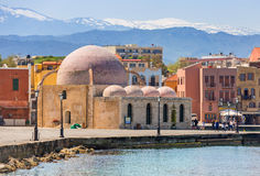 Old mosque in the port of Chania on Crete Royalty Free Stock Image