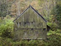 Old Moss Covered Vermont Barn. And old wooden barn with shingles and flush boards covered with moss near Thetford, Vermont Stock Image