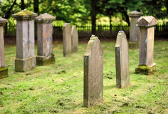 Old, mossy tombstones on a jewish cemetery Stock Image