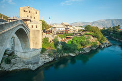 Old Mostar bridge over the Neretva river Stock Photo